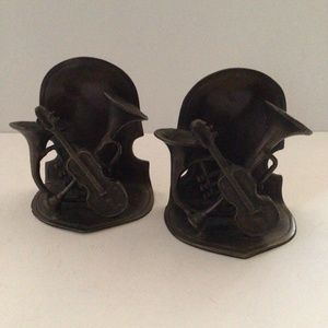 Pair Iron Musical Instrument Bookends